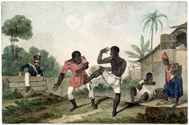 Negroes fighting, Brazil; 1824 von Augustus Earle